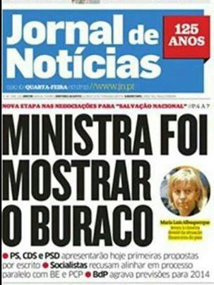 Ministra foi mostrar o buraco_Jornal de Notícias