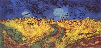 Corvos voando sobre um campo de trigo - V. Gogh.jp