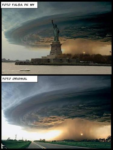 A montagem, estátua da liberdade e imagem de tormenta