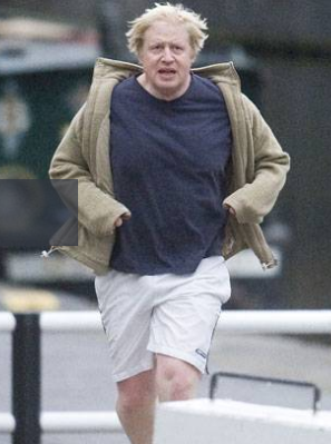 Boris Johnson a correr ao longo do canal