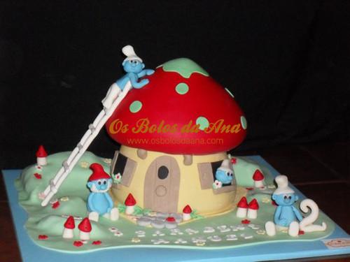 Bolo 3D Casa dos Smurfs