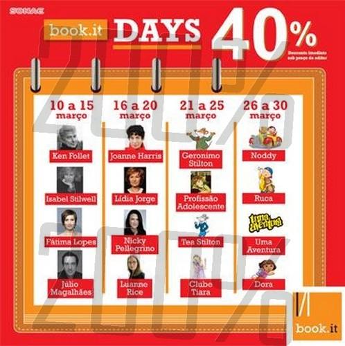 40% de desconto | BOOK.IT | de 10 a 30 março
