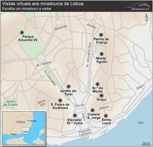 miradouros de lisboa mapa As sete Colinas e os Miradouros de Lisboa   Parte 1   lisboacomalma miradouros de lisboa mapa