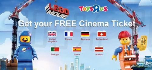 Entrada grátis | TOYSRUS | filme Lego, em compras superiores a 25€ de produtos Lego