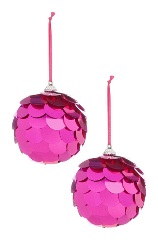 Kimball-1459401-Set 2 Large Sequins Bauble Pink, G
