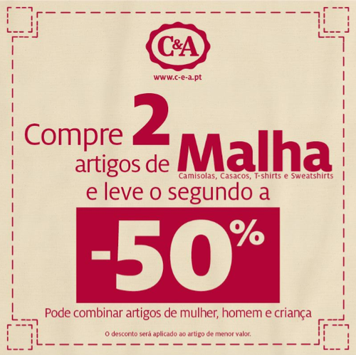 C&A -50% na Segunda Peça