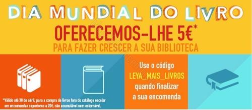 Oferta desconto de 5€ em livros | LEYA | até 30 abril