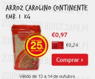 25% desconto em arroz carolino Continente, de 13 a 14 Outubro