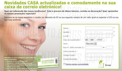 Ganhe 5€ ao registar-se na newsletter | CASA |