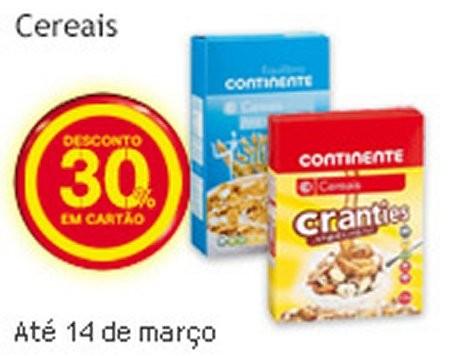30% de desconto cereais | CONTINENTE | até 14 março