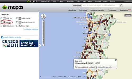 SAPO Mapas - Trânsito