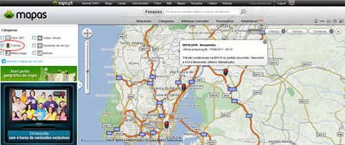 Transito em directo no SAPO Mapas