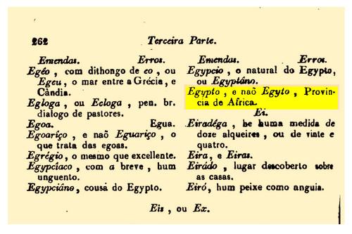 Egypto e não Egyto... (Orthographia, ou Arte de Escrever, e Pronunciar com Acerto a Língua Portugueza, para Uso do Excellentissimo Duque de Lafoens...)