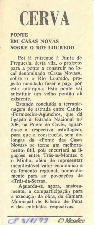 Cerva - Nova Ponte das Casas Novas (1979)