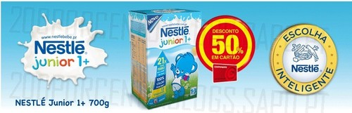 50% desconto | CONTINENTE | Leite Nestlé junior 1+