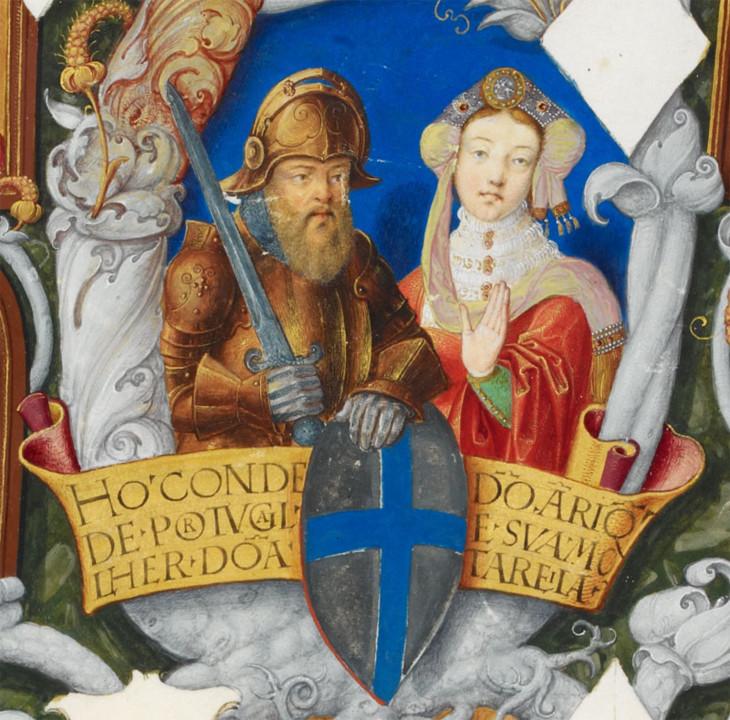 D. Henrique e D. Teresa. Iluminura da Genealogia d