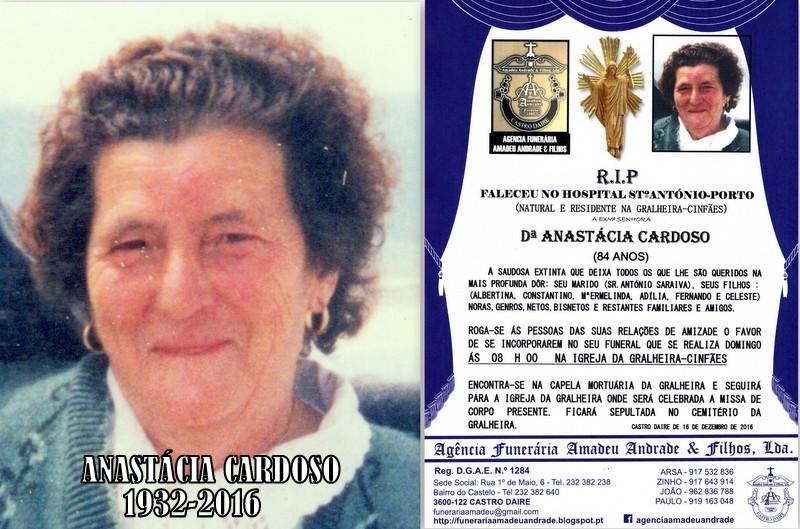 RIP-FOTO- ANASTÁCIA CARDOSO-84 ANOS- GRALHEIRA-CI