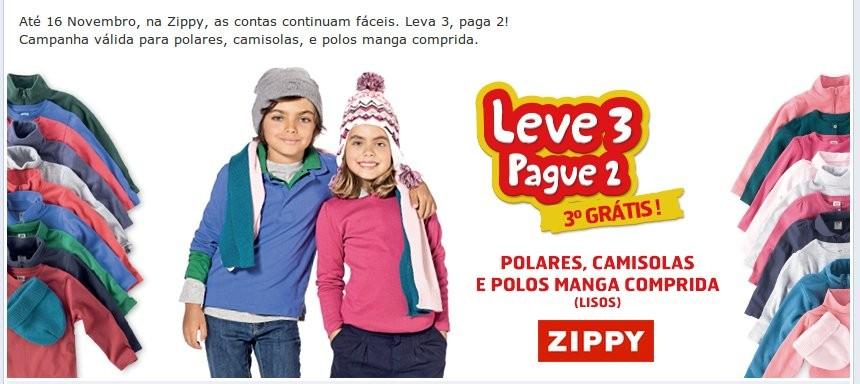 Até 16 Novembro, na Zippy, as contas continuam fáceis. Leva 3, paga 2! Campanha válida para polares, camisolas, e polos manga comprida.