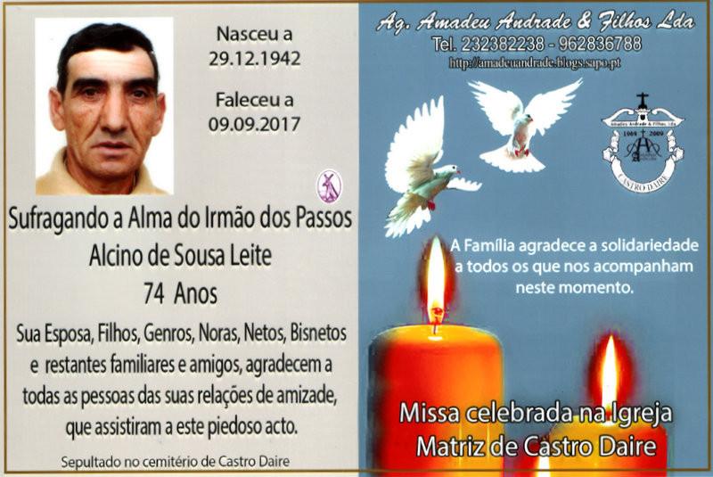CARTÃO  DE ALCINO DE SOUSA LEITE-74 ANOS (CASTRO