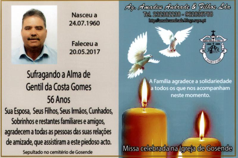 CARTÃO  DE GENTIL DA COSTA GOMES-56 ANOS (GOSENDI