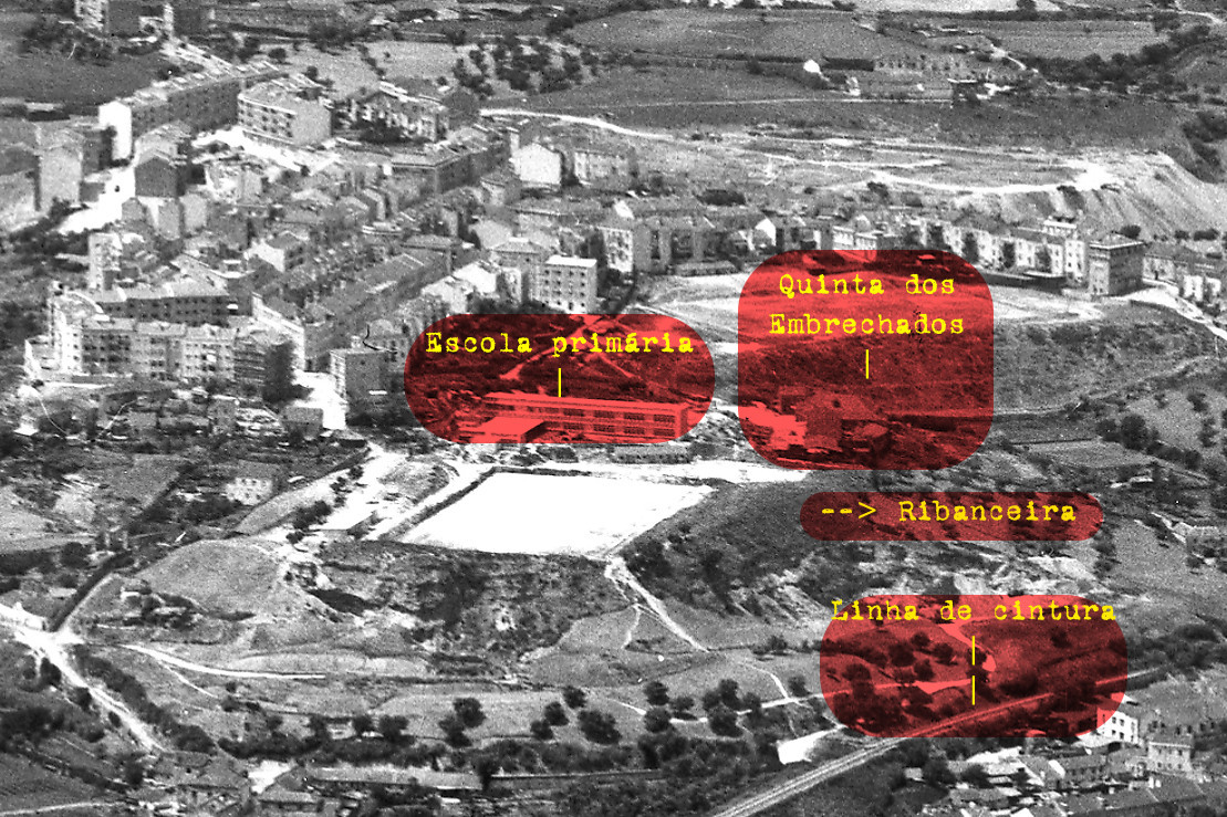 Vista aérea sobre o campo do Vitória (M. Oliveira, c. 1955)
