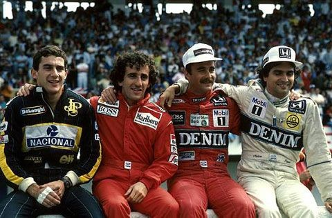 Ayrton Senna, Alain Prost, Nigel Mansell and Nelso