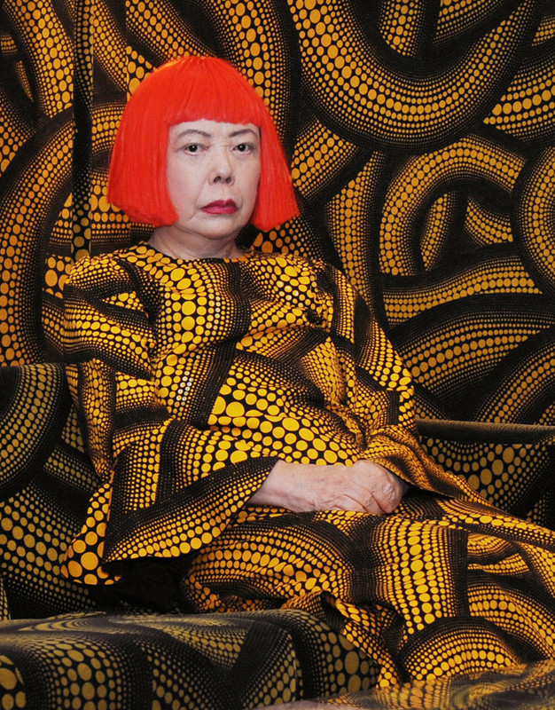 Yayoi Kusama in Yellow Tree furniture room at Aich triennale, Nagoya, Japan, 2010 (detail). © Yayoi Kusama. Image courtesy Yayoi Kusma Studio Inc.; Ota Fine Arts, Tokyo; Victoria Miro Gallery, London; and Gagosian Gallery New York