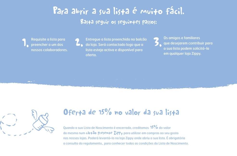 Lista de nascimento | ZIPPY | 15% de desconto em Cartão