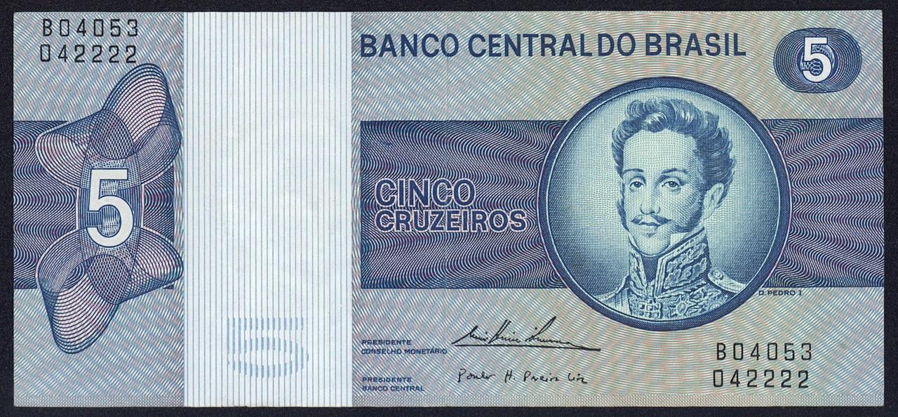 Brazil 5 Cruzeiros banknote 1975 Dom Pedro I.JPG