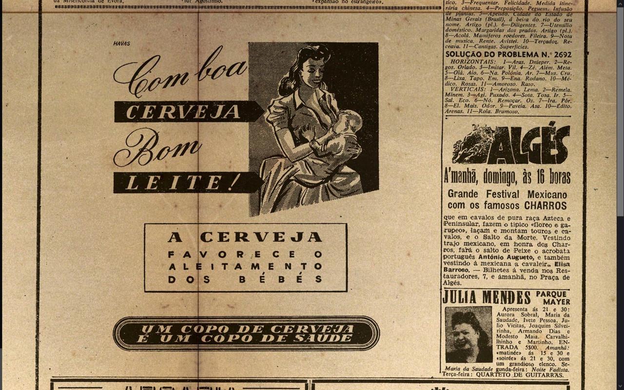Com boa cerveja bom leite… (Diario de Lisbôa, 18-3-950. p. 4)