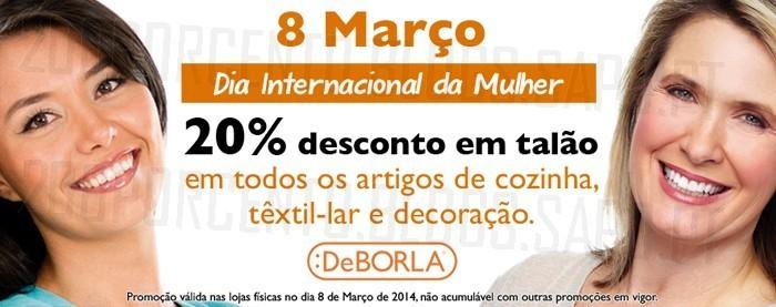 20% de desconto | DE BORLA | Dia da Mulher - 8 março