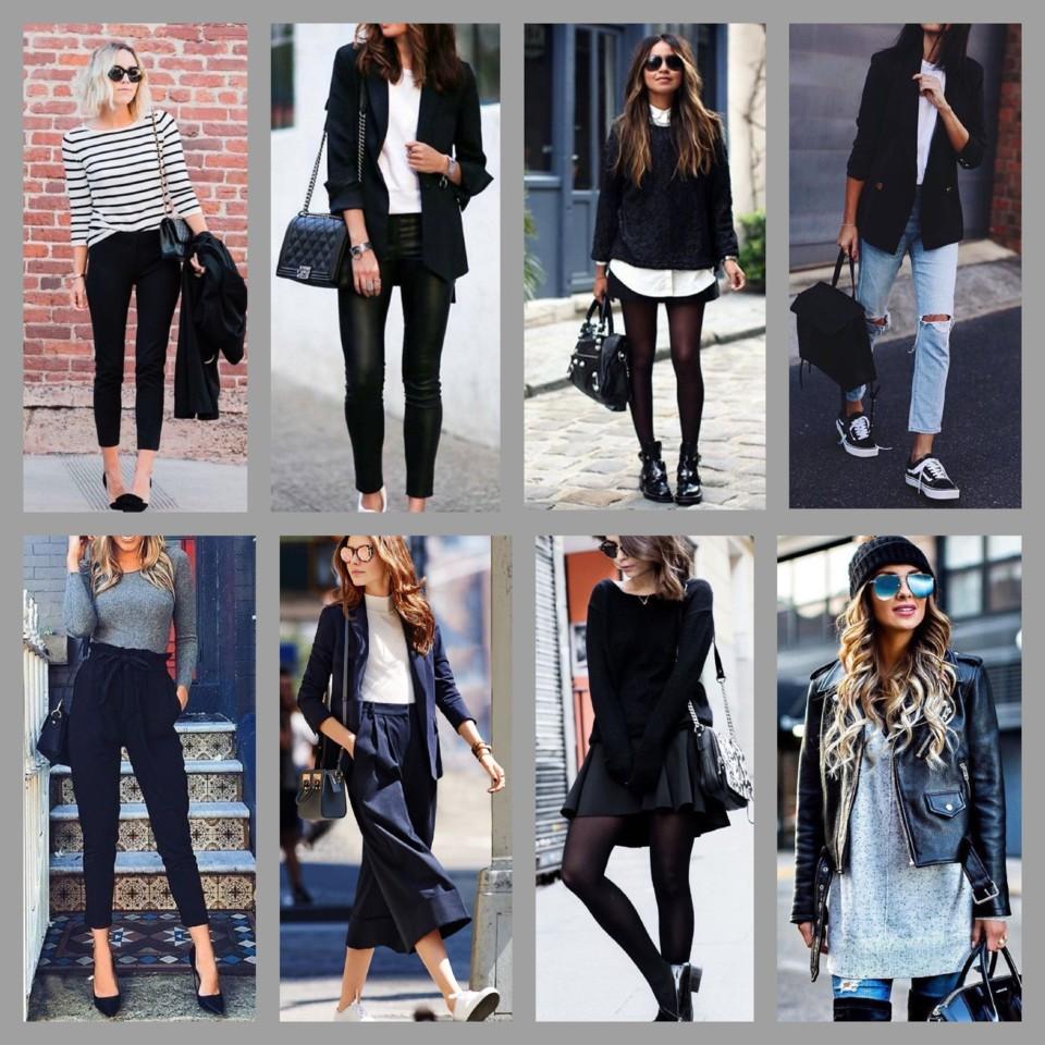 Look com saia preta, blusa de renda cinza, sapatilha rosa e