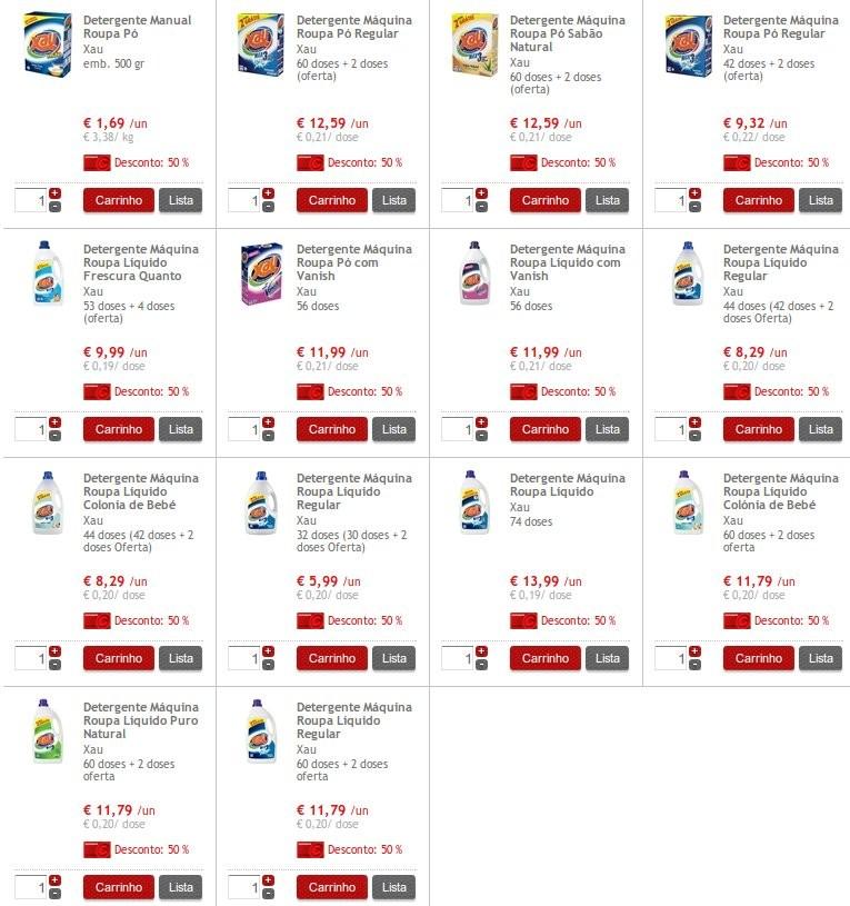 50% Detergentes XAU no | CONTINENTE |, Dias 15 e 16 Outubro