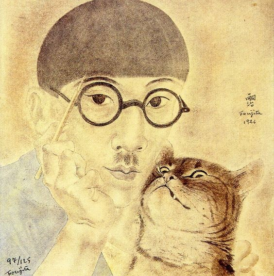 Foujita, Retrato com gato, 1926
