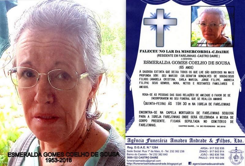 FOTO RIP  DE ESMERALDA GOMES COELHO DE SOUSA-65 AN