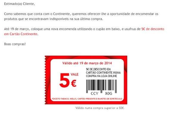 cupão de 5€ desconto | CONTINENTE | Online até 19 março