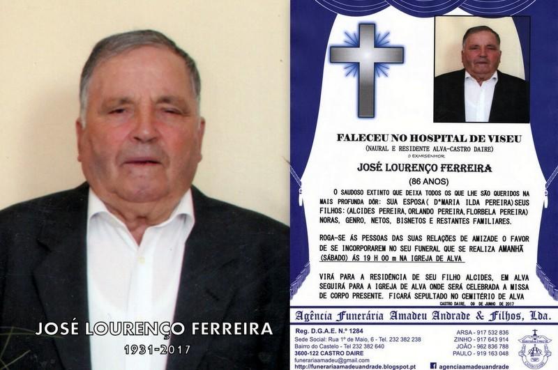 FOTO E RIP-DE JOSÉ LOURENÇO FERREIRA-86 ANOS (AL