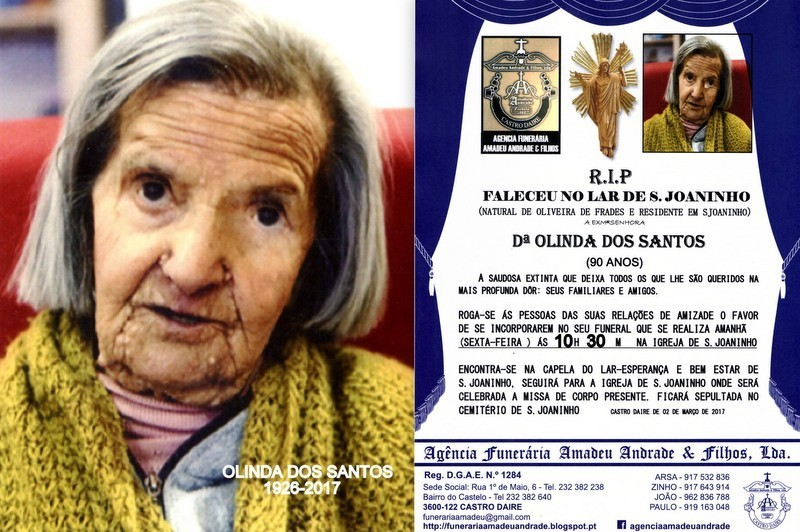 FOTO E RIP-  DE OLINDA DOS SANTOS-90 ANOS (S.JOANI