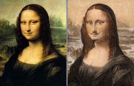 Mona Lisa de Leonardo da Vinci (1503) versus Mona Lisa de Marcel Duchamp (1919)