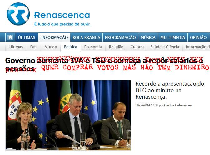 Governo quer comprar votos mas não tem dinheiro... (R.R., 30/IV/14)