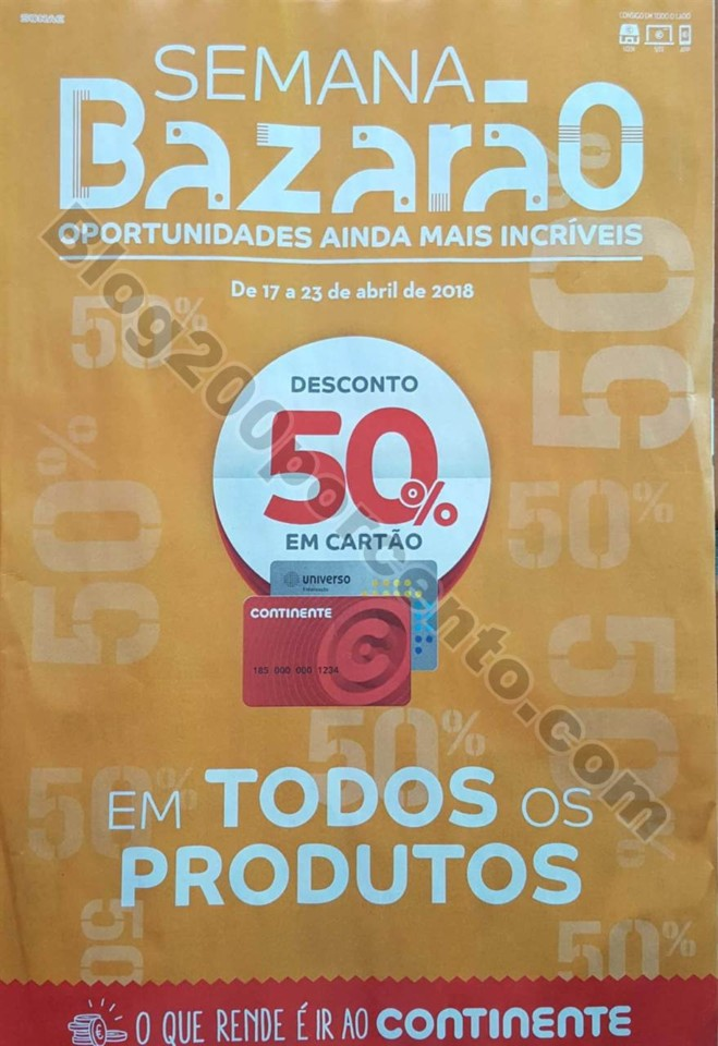 Folheto Promoções Continente Bazarão Antevisão 17a23abr