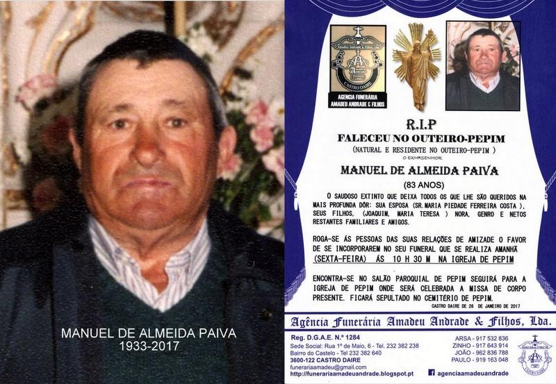 FOTO-RIP- DE MANUEL DE ALMEIDA PAIVA-83 ANOS (OUTE