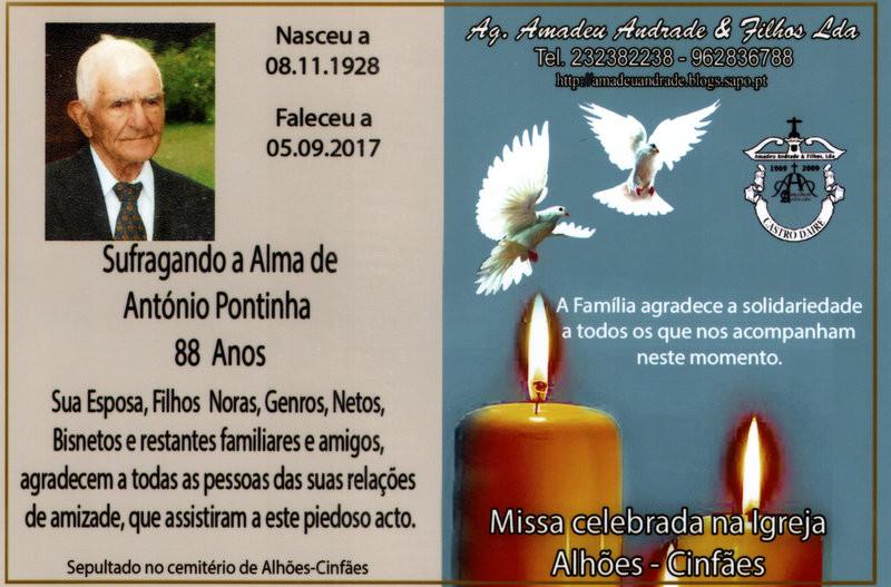 CARTÃO  ANTÓNIO PONTINHA -88 ANOS (ALHÕES-CINF