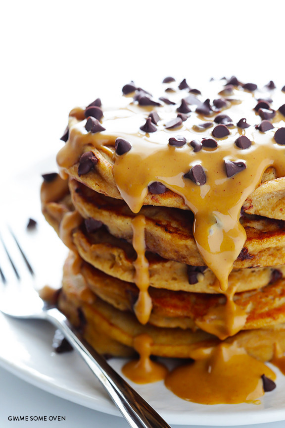 Whole-Wheat-Peanut-Butter-Chocolate-Chip-Pancakes-