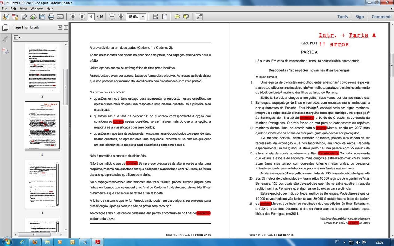 Exame da primária (MEC, 2013)