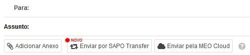 SAPO Mail - Anexos SAPO Transfer - botões