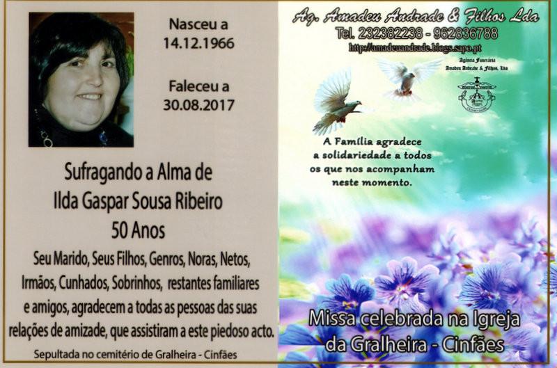 CARTÃO - ILDA GASPAR DE SOUSA RIBEIRO  - 50 ANOS