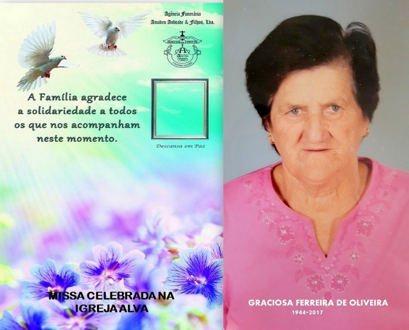 FOTO CARTÃO GRACIOSA FERREIRA DE OLIVEIRA  - 72 A