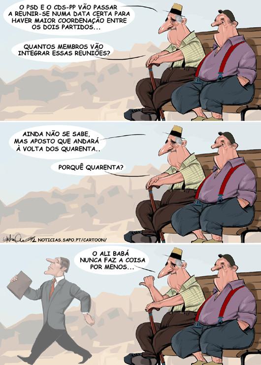 Cartoons - Coligação reune-se - Pedro Passos Coelho - Paulo Portas