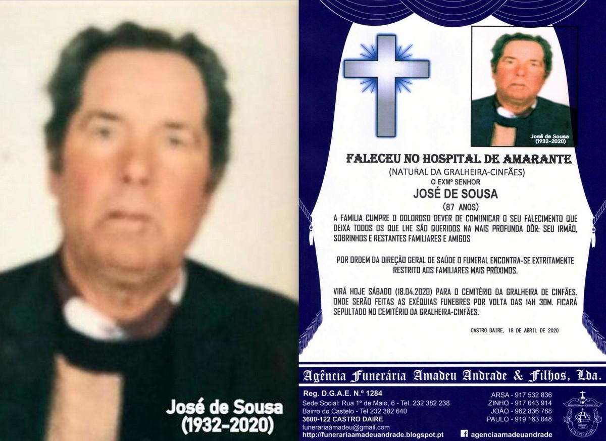 FOTO RIP DE JOSÉ  DE SOUSA-87 ANOS (GRALHEIRA-CIN